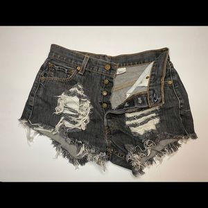 High waisted Levi's 501 button up jean shorts